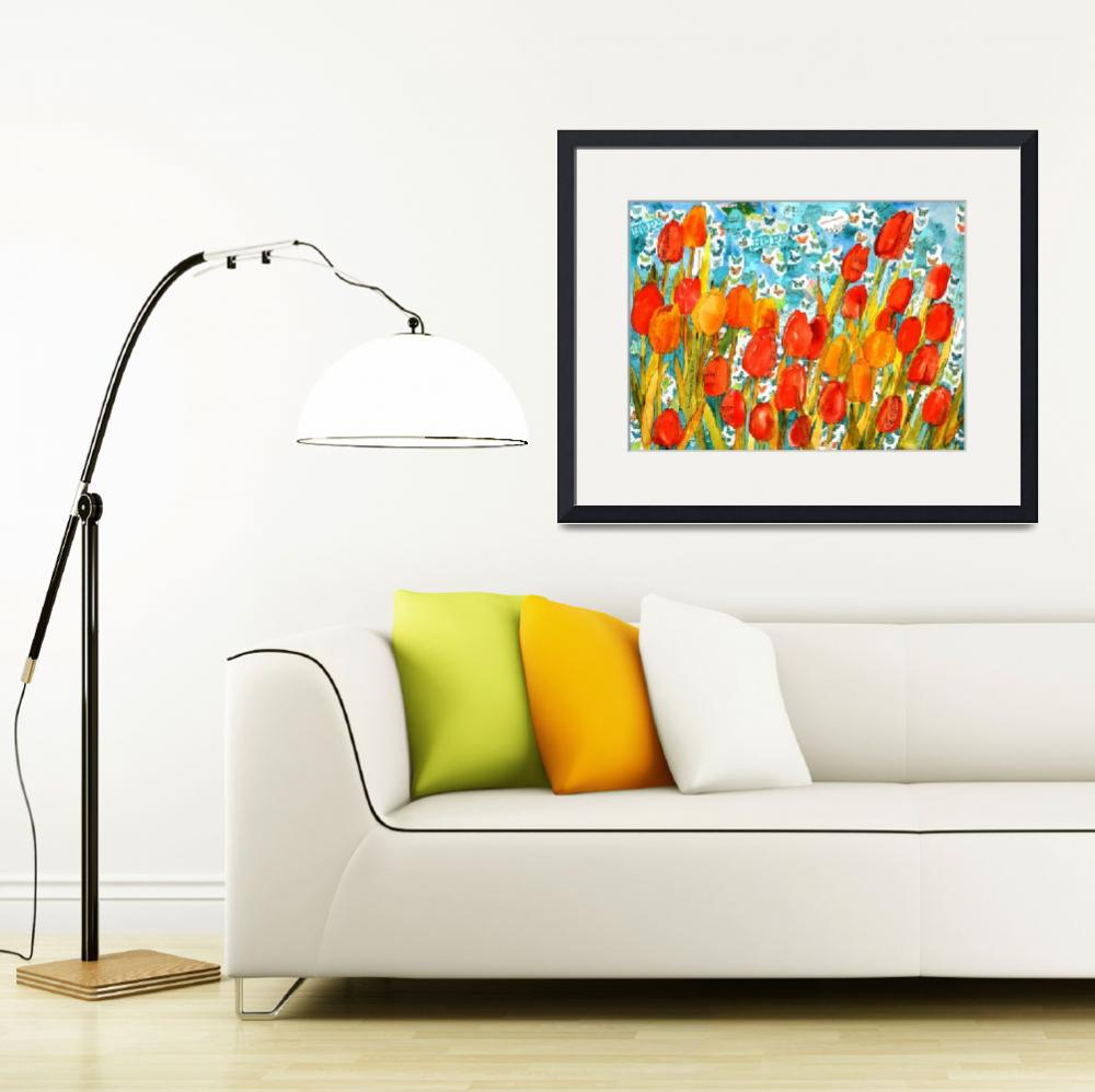 """""""Tulip Kisses and Hope, Musical Flower Collage""""  (2012) by schulmanart"""