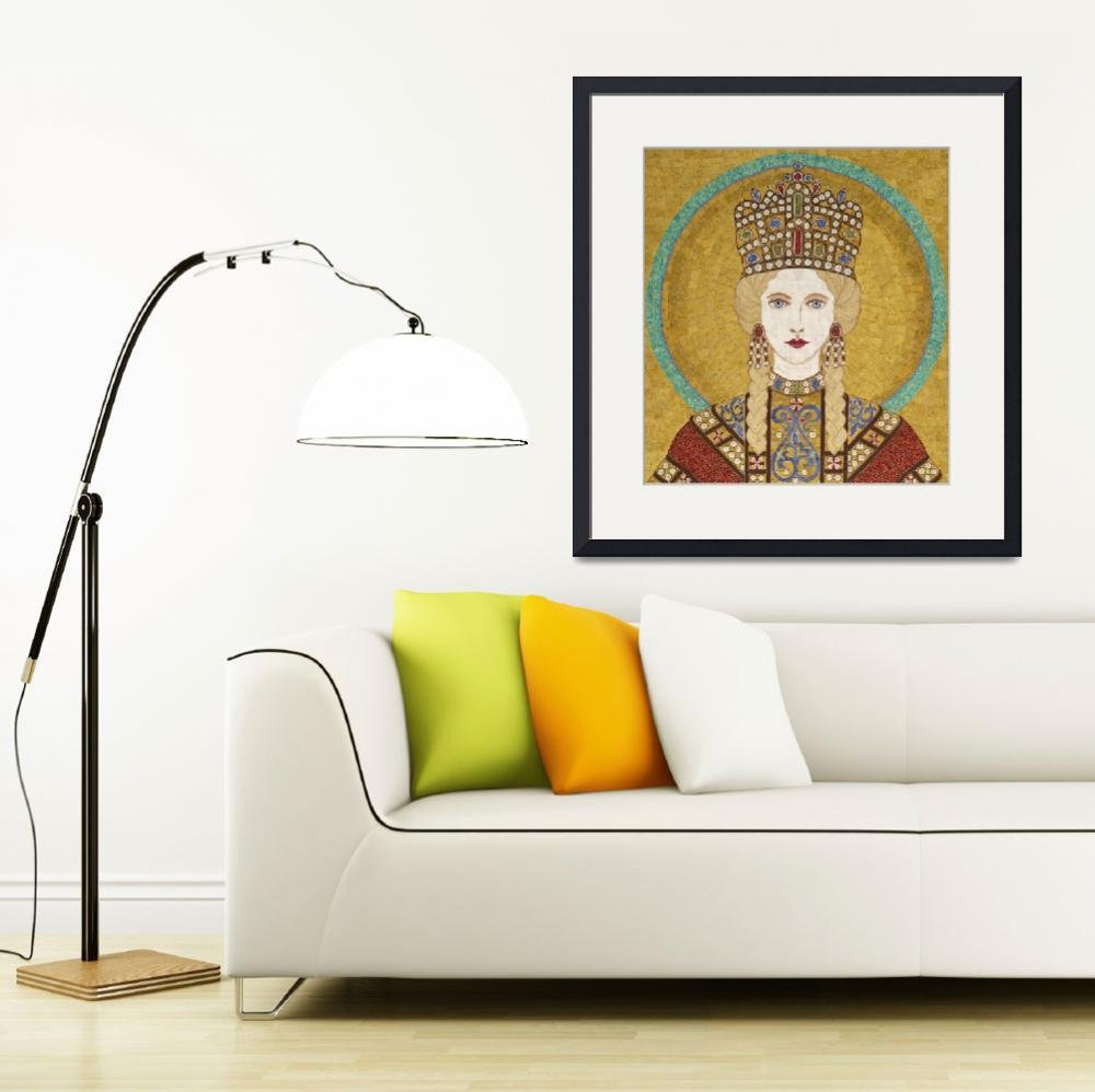 """""""Empress Irene of Byzantiumm- fabric mosaic&quot  (2013) by RemnantWorks"""