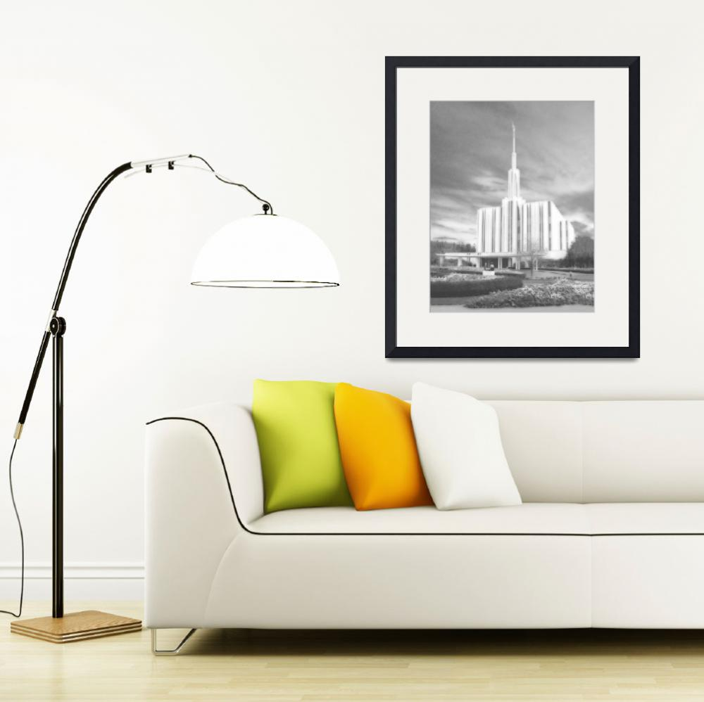 """""""Seattle Temple Large-16x20-BW&quot  by TerrySpringer"""