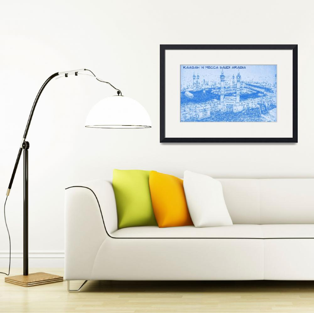 """""""Kaabah in Mecca Saudi Arabia - BluePrint Drawing""""  by motionage"""