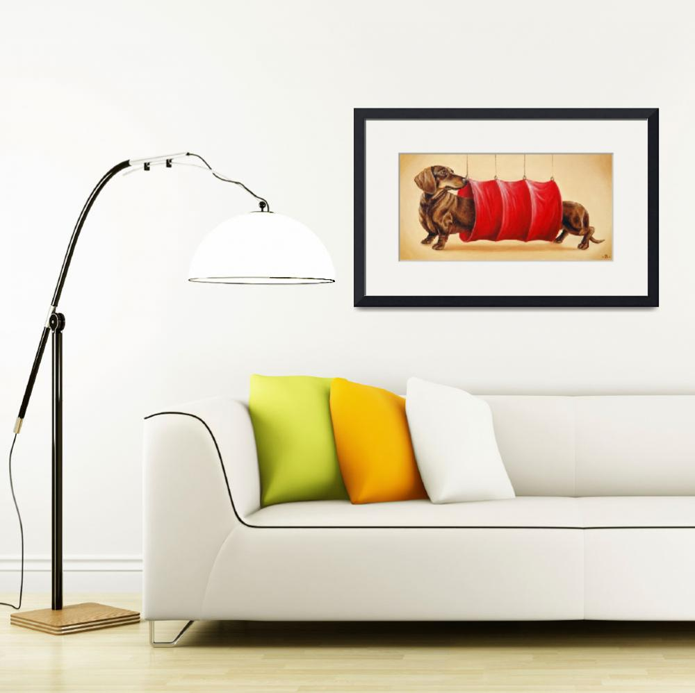 """""""Chocolate Dachshund in the Tunnel&quot  (2007) by artforest"""