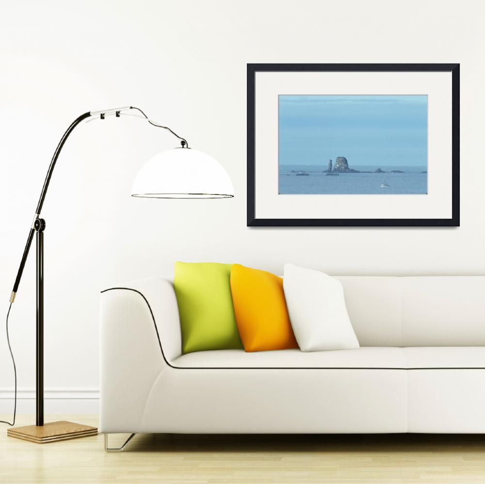 """""""Fishing Boat By Sea Stacks&quot  (2003) by OneRudeDawg"""
