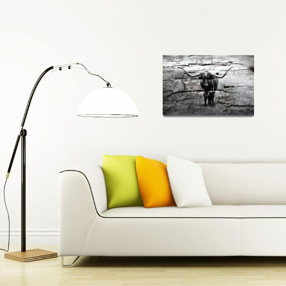 """Mixed Media Texas Longhorn Black & White B74191616""  (2016) by MasArtStudio"