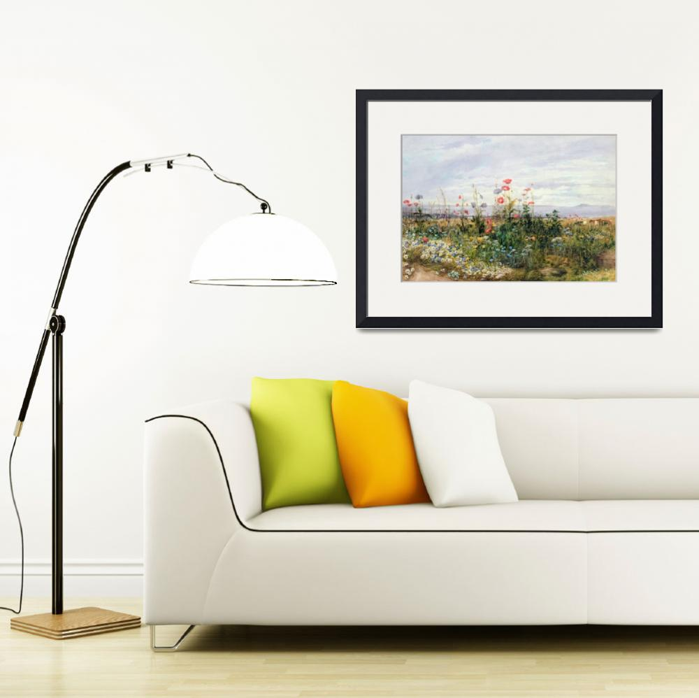 """""""Wildflowers with a View of Dublin Dunleary (w/c on""""  by fineartmasters"""