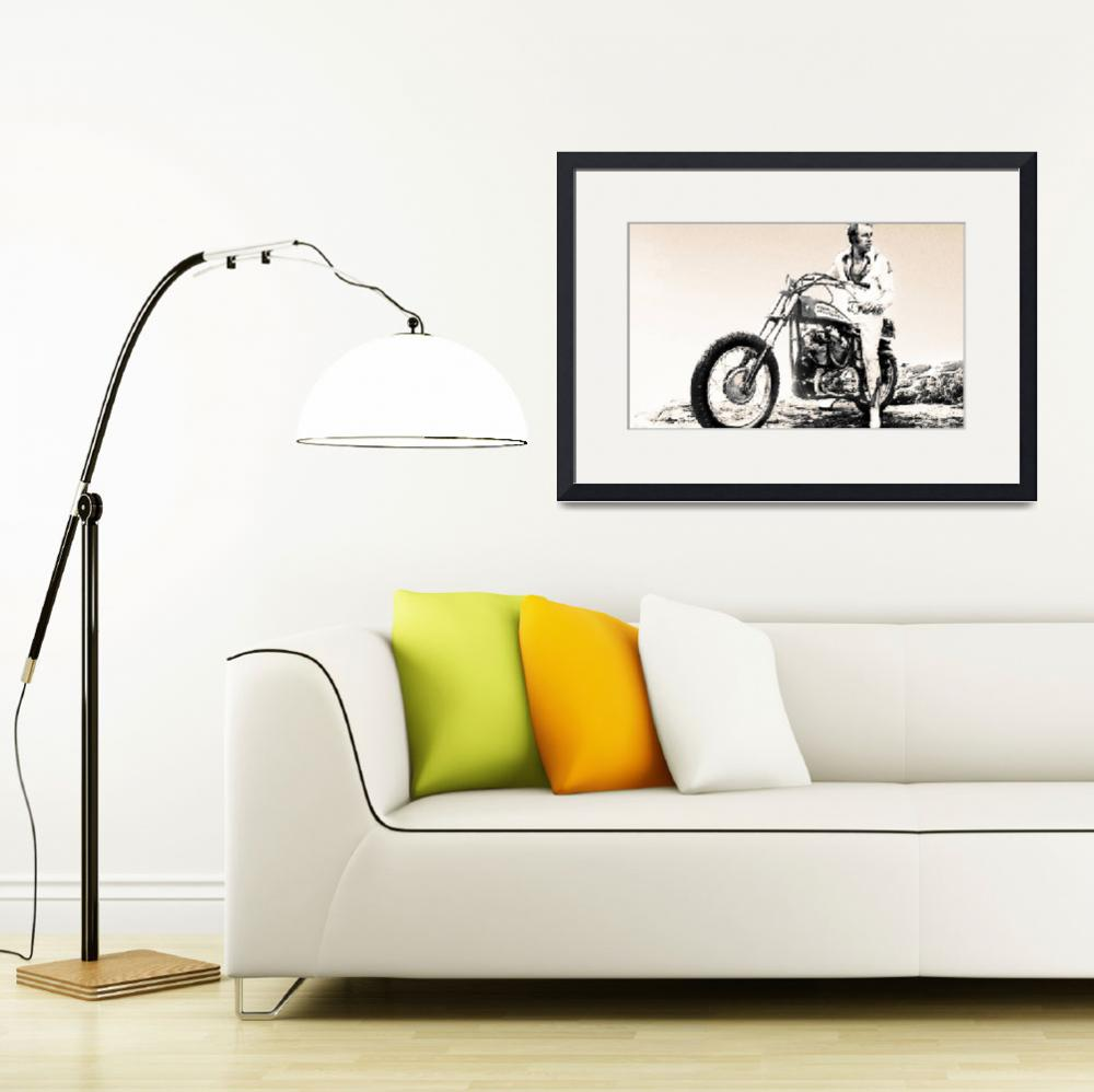 """""""Evel Knievel Painting Sepia""""  by RubinoFineArt"""