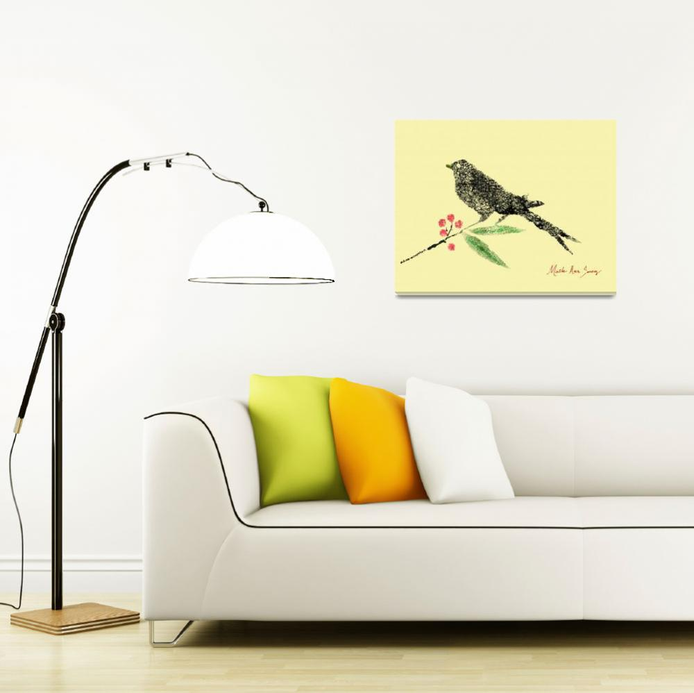 """""""Decorative Black Bird and Red Berries on Yellow R&quot  (2015) by MasArtStudio"""