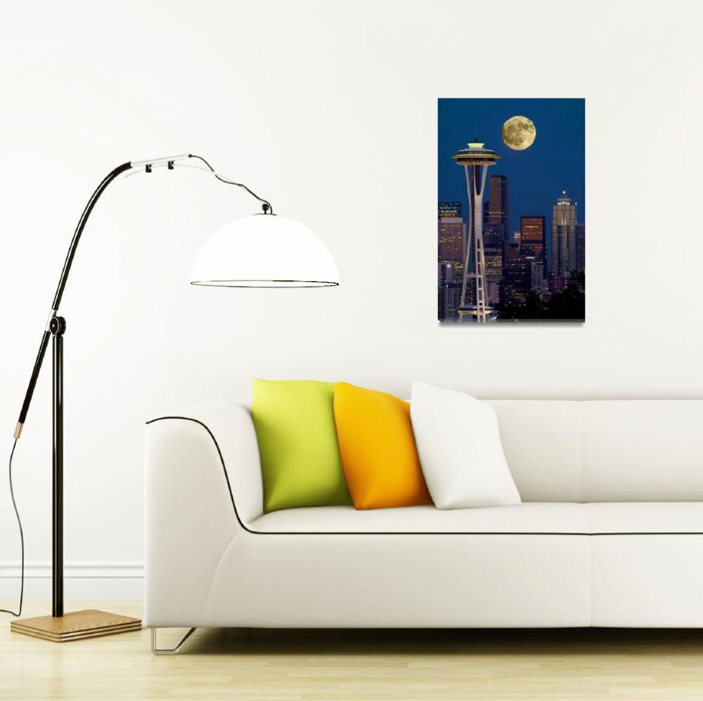 """""""Full moon over Seattle&quot  by frankacaba"""