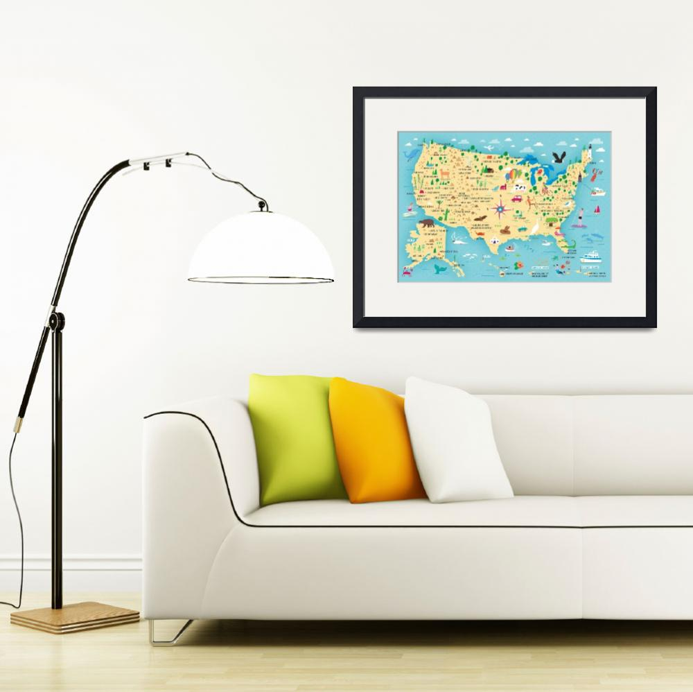 """""""US National Park Illustrated Map by Nate Padavick&quot  by TheyDrawandCook"""