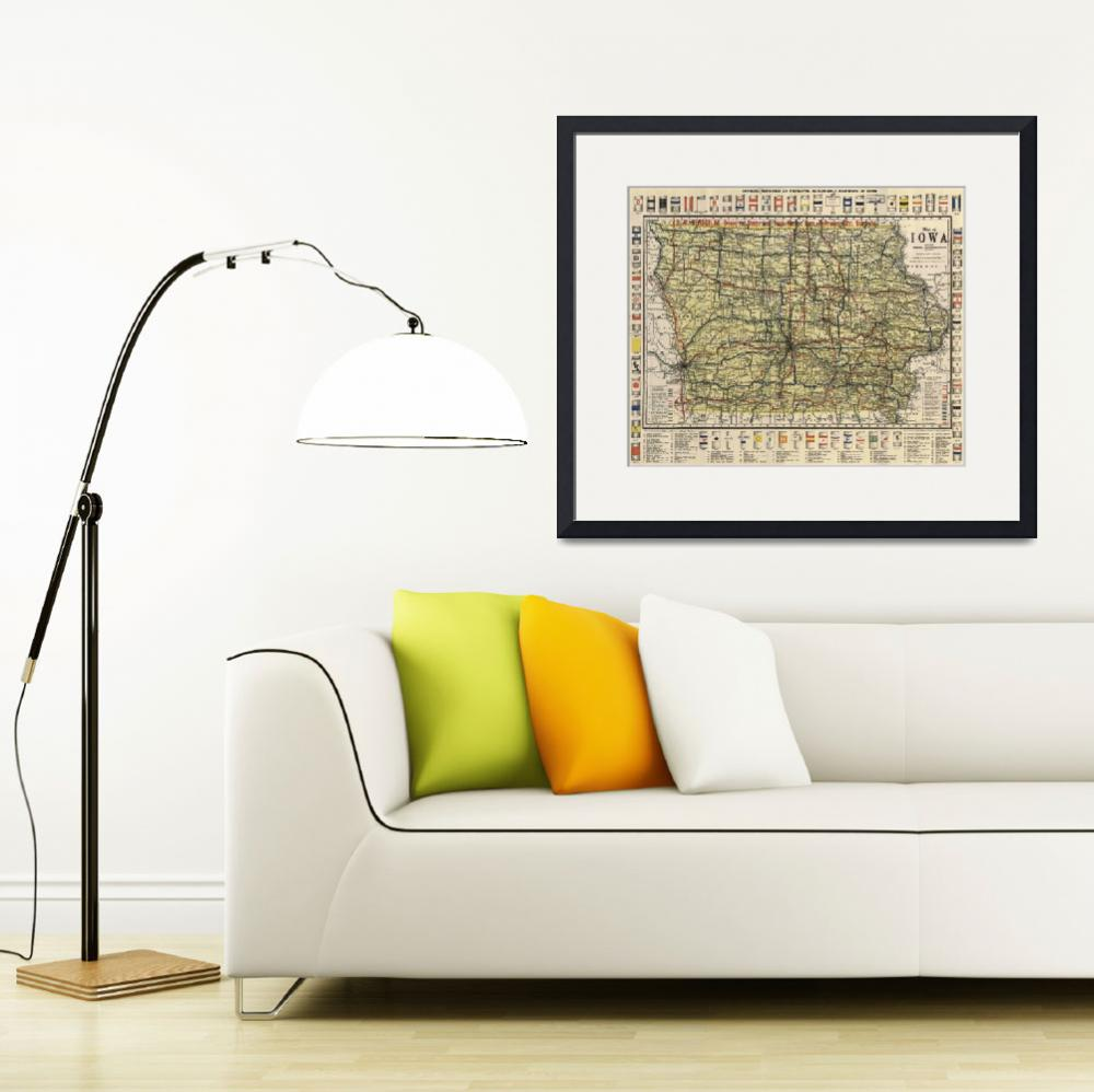 """Vintage Iowa Automobile Map (1919)&quot  by Alleycatshirts"