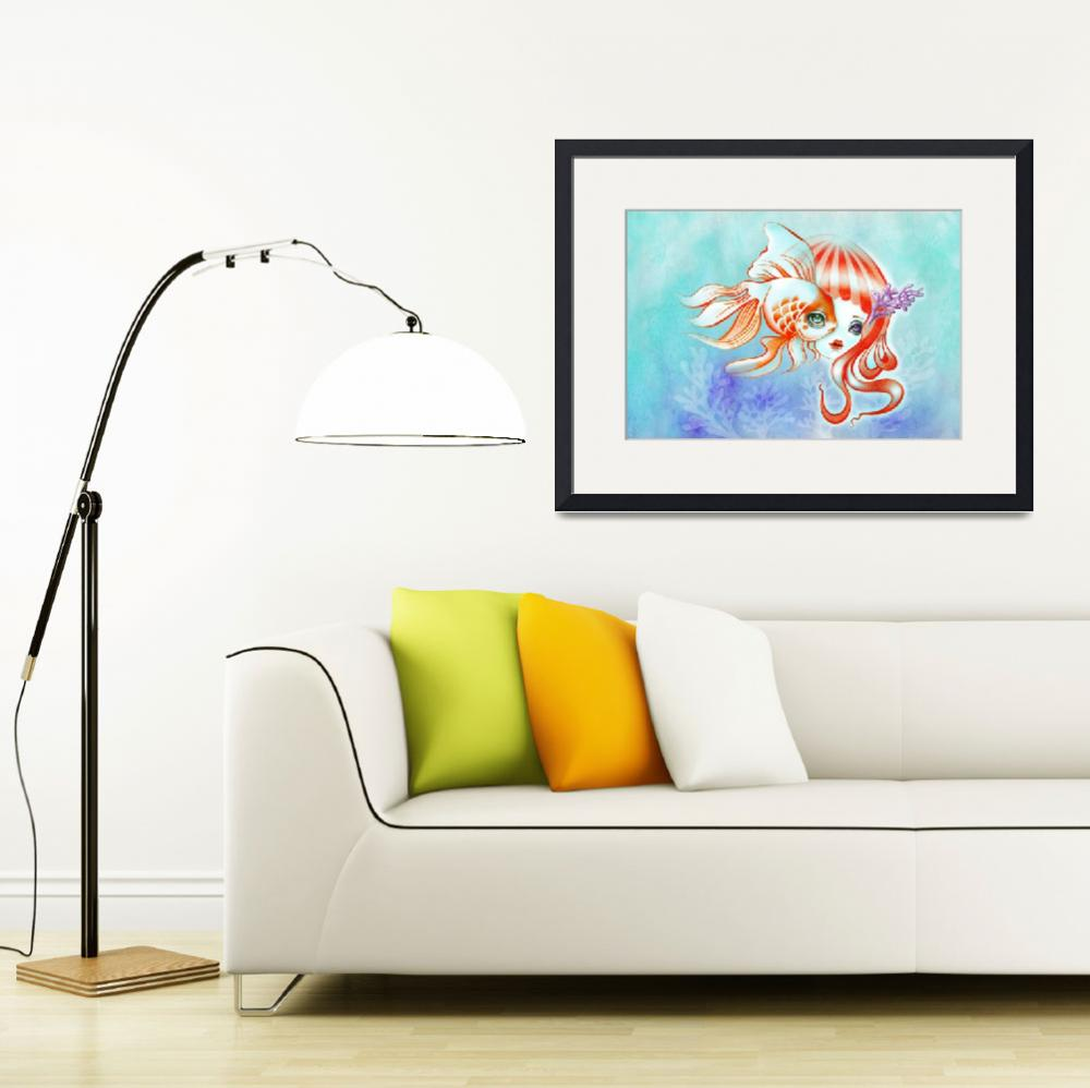 """Dreamland Muses - Jellyfish Girl & Goldfish""  (2014) by sandygrafik_arts"