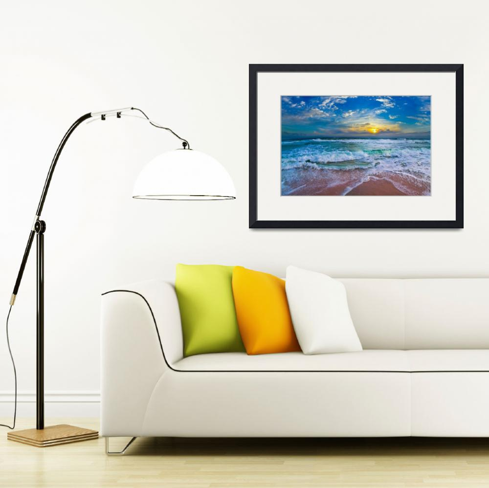 """Blue Beach Waves Sunset Tropical Seascape Art&quot  (2014) by eszra"