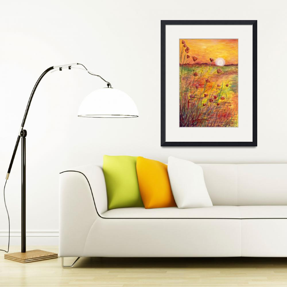 """""""Sunset and Poppies&quot  (2013) by nadinerippelmeyer"""