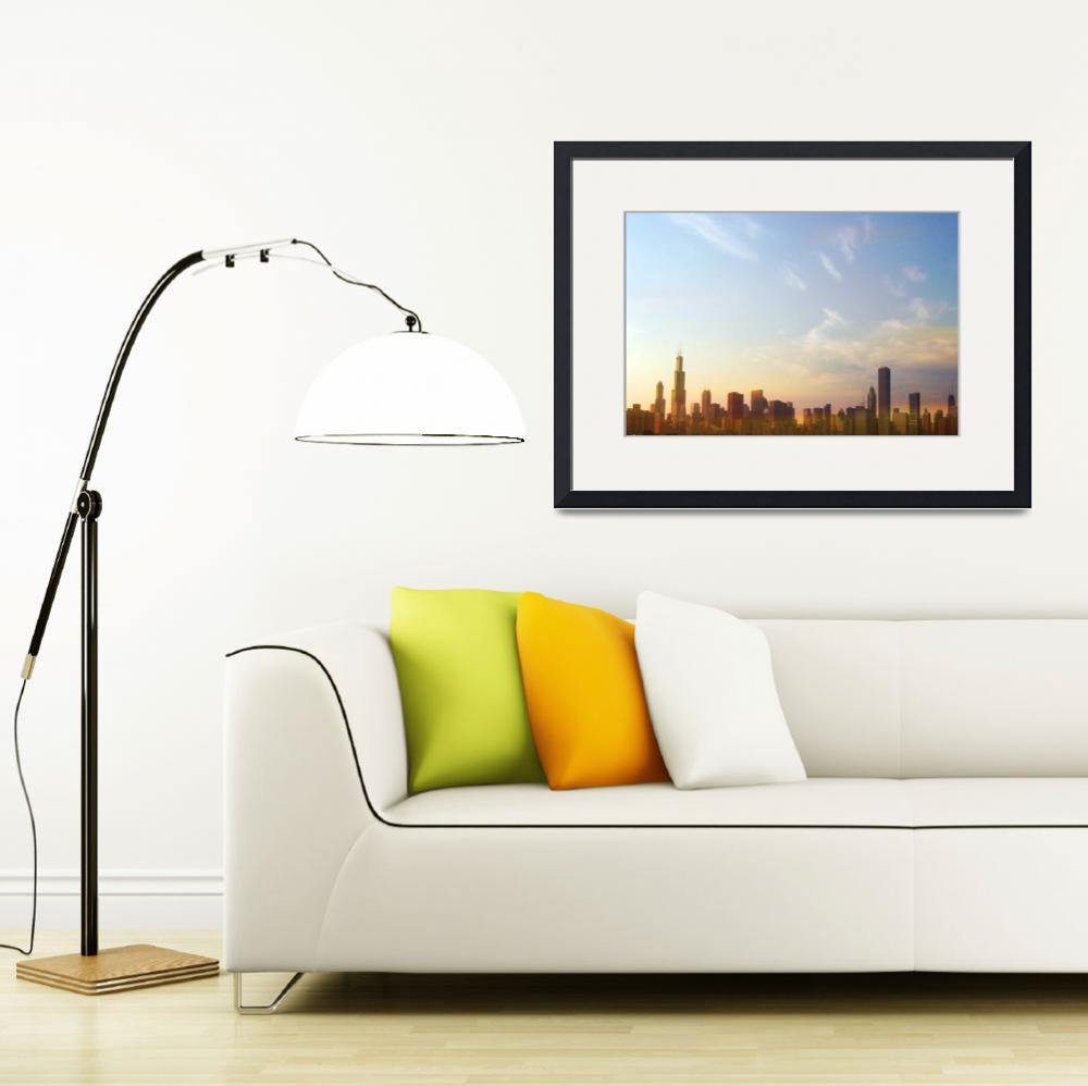 """""""Chicago skyline at sunset""""  by Mazzocco"""