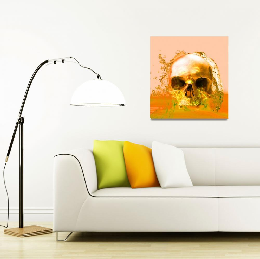 """GOLDEN SKULL IN WATER""  (2014) by Icarusismart"