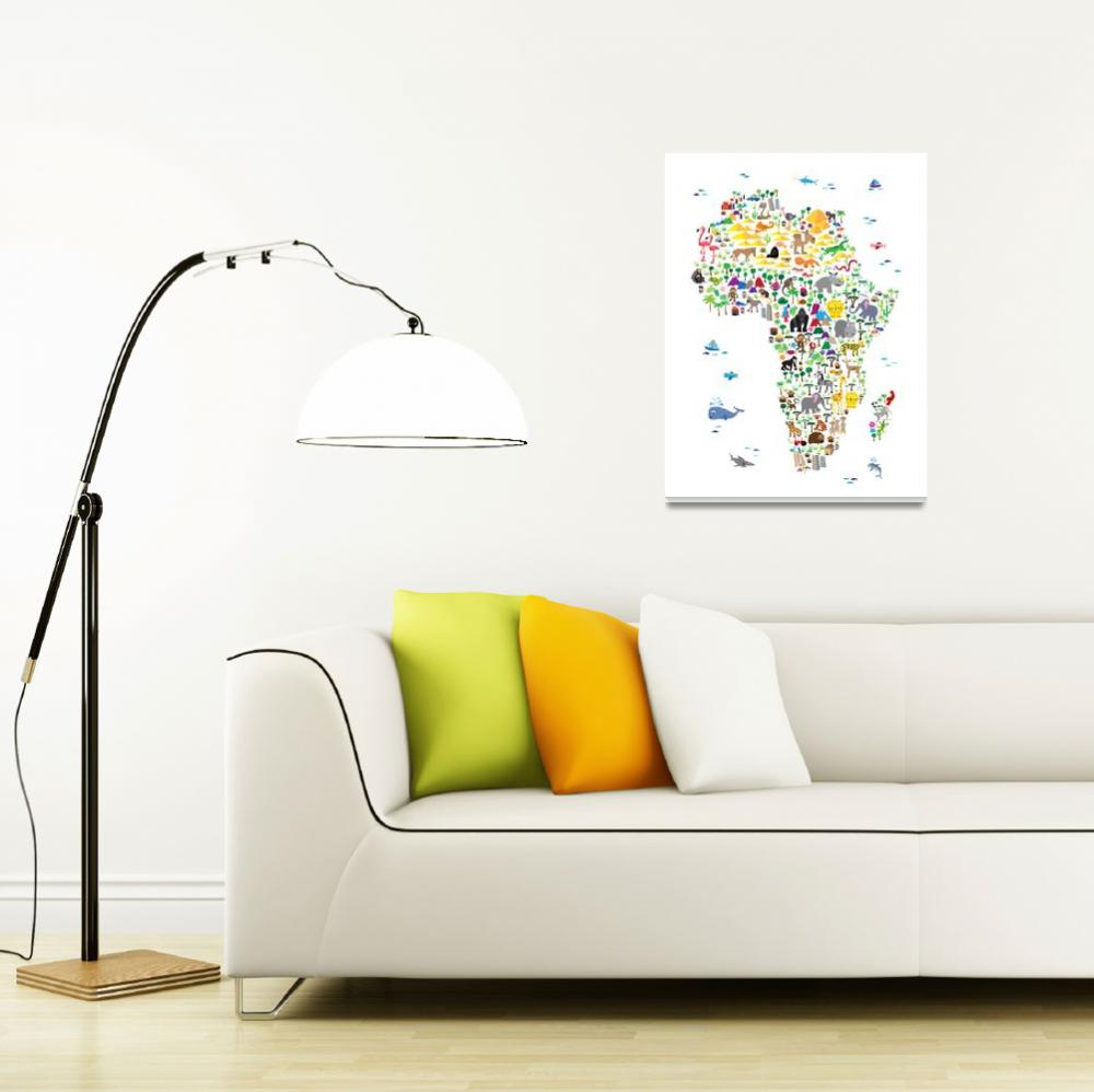 """Animal Map of Africa for children and kids&quot  (2016) by ModernArtPrints"