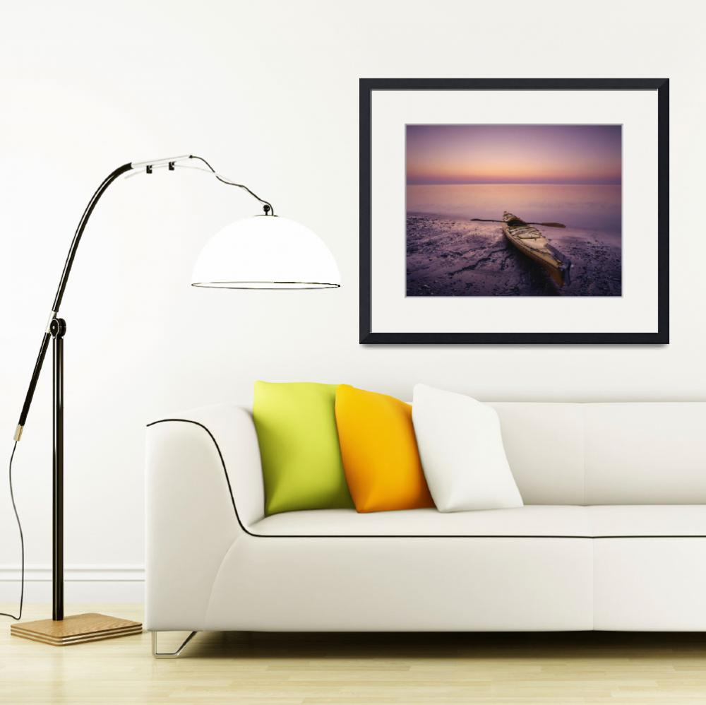 """Kayak And Sea At Dawn At Pointe Carleton, Anticost&quot  by DesignPics"