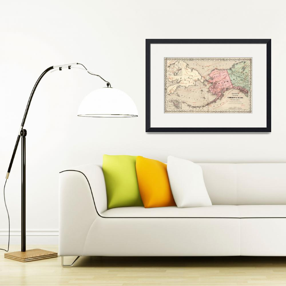 """""""Vintage Map of Alaska and Russia (1869)&quot  by Alleycatshirts"""
