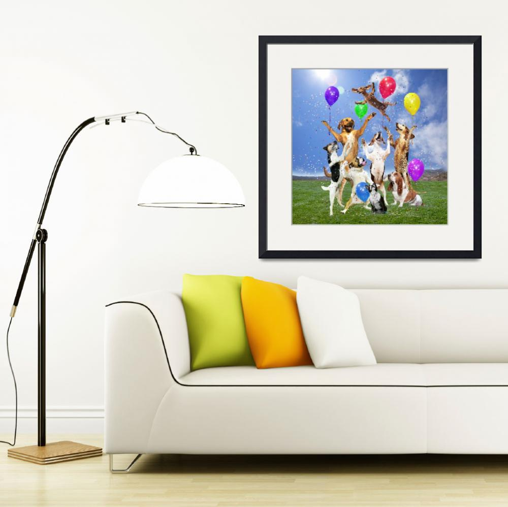 """""""Dogs Celebrate in a Grassy Field&quot  (2010) by StephanieDRoeser"""