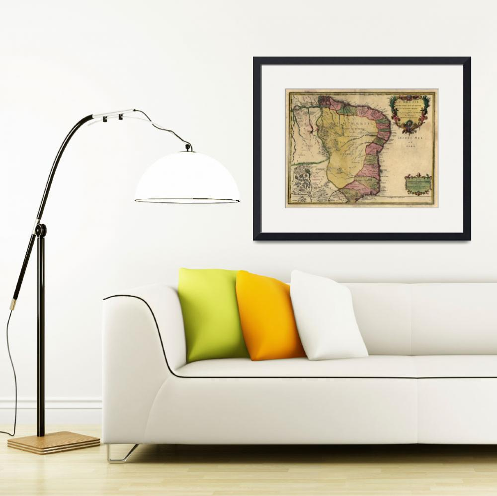"""Vintage Map of Brazil (1719)&quot  by Alleycatshirts"