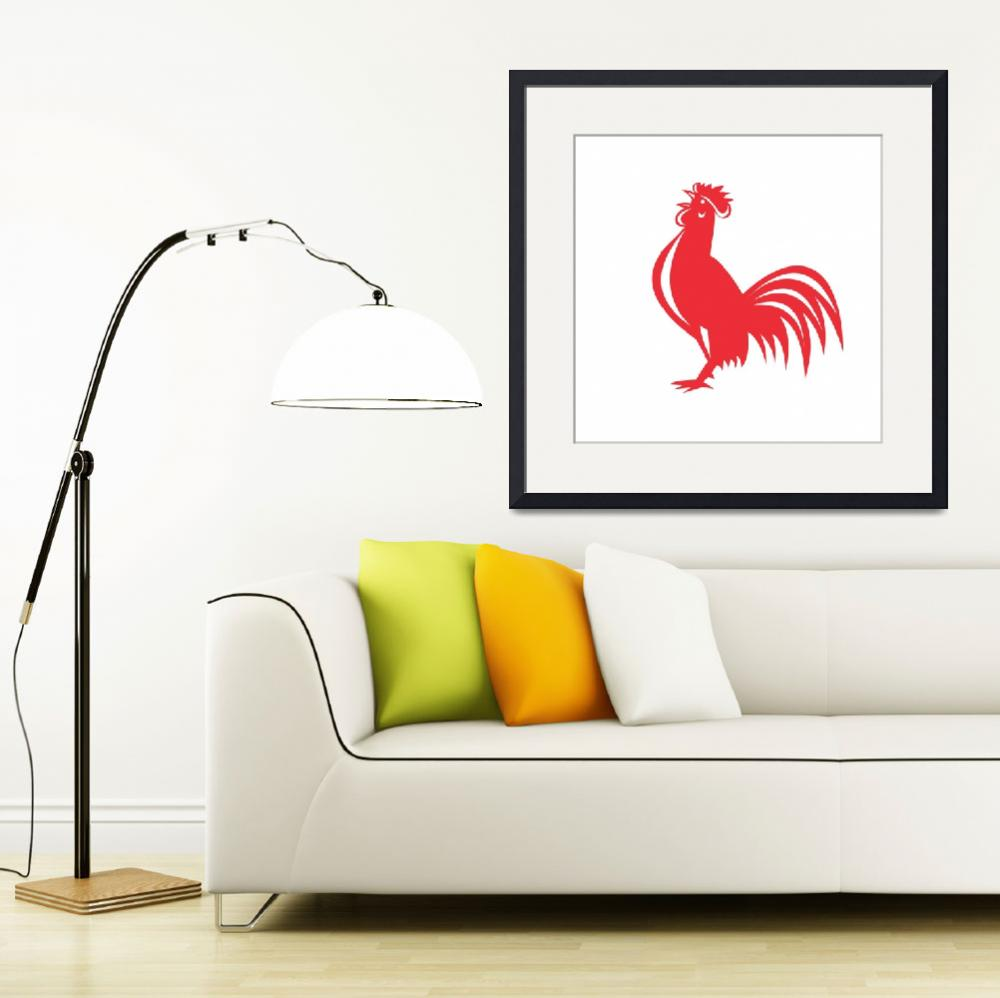 """""""Chicken Rooster Crowing Retro&quot  (2016) by patrimonio"""