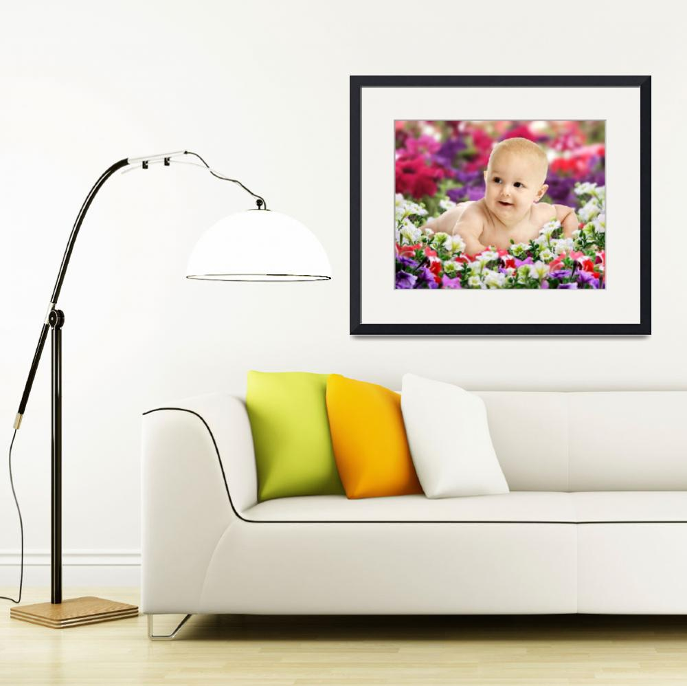 """""""Baby On Colorful Flowers&quot  (2008) by Kornelius"""