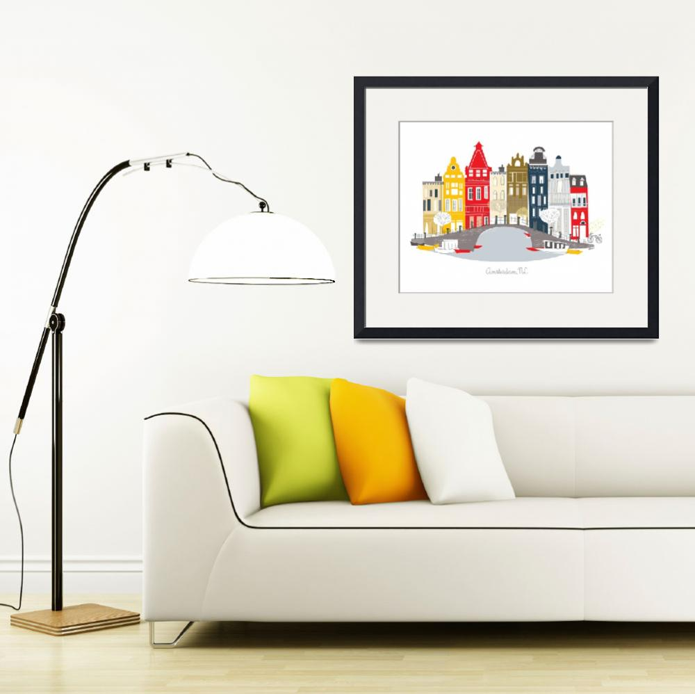 """""""Amsterdam Modern Cityscape Illustration&quot  by AlbieDesigns"""