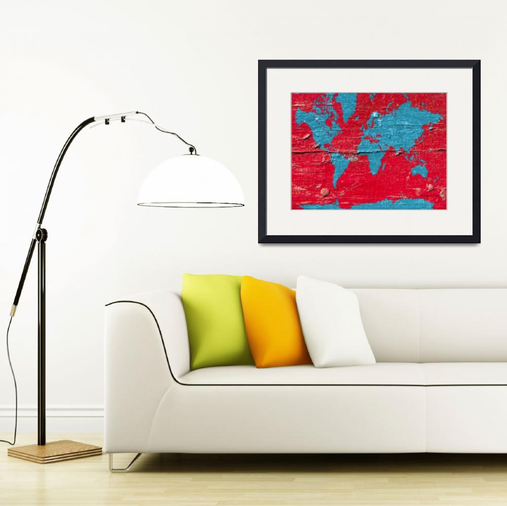 """red- blue- paint-world-map-marlene-watson""  by MarleneWatson"
