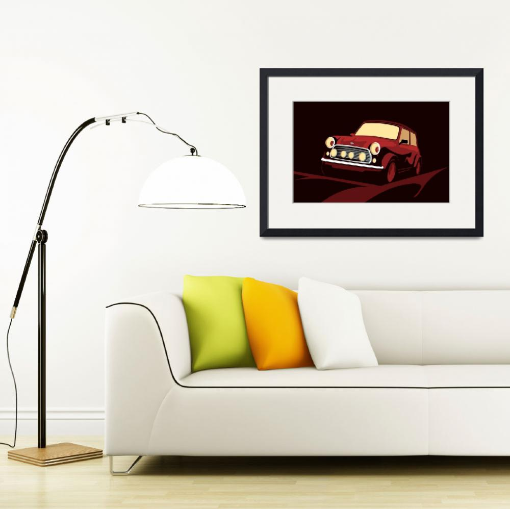 """Classic Mini Cooper in Red&quot  (2010) by ModernArtPrints"