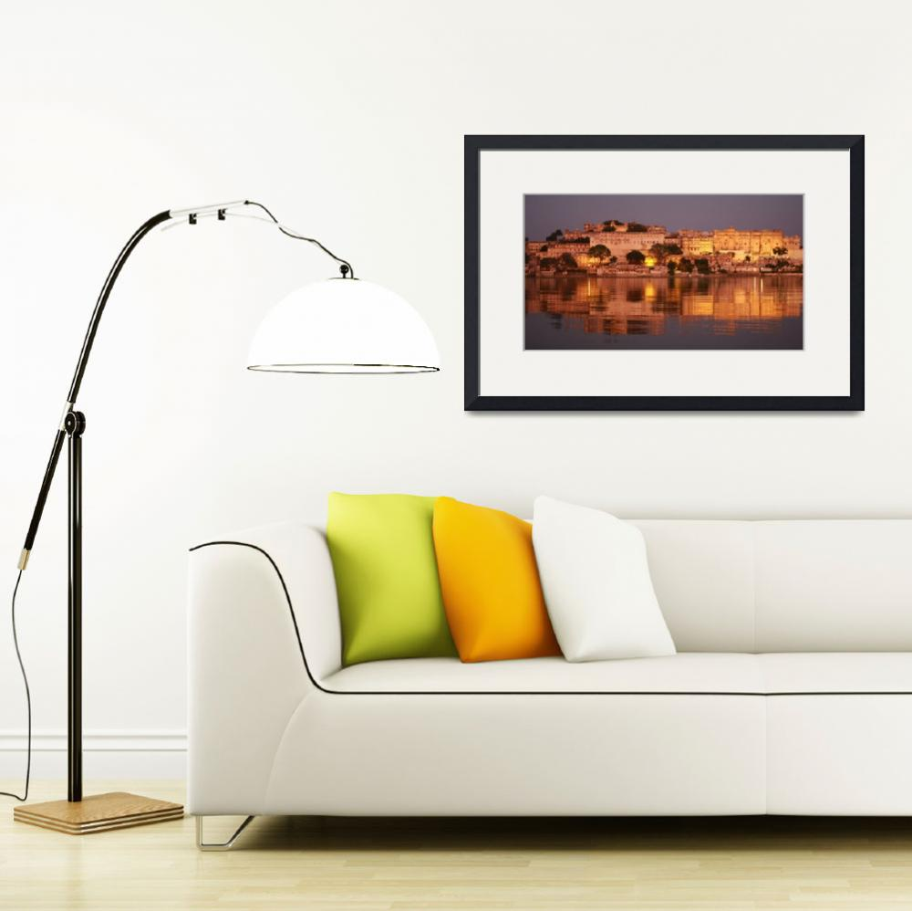 """""""Indian cityscape udaipur from the lake""""  (2008) by royporat"""