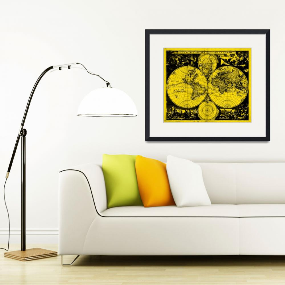 """Vintage Map of The World (1685) Black & Yellow&quot  by Alleycatshirts"