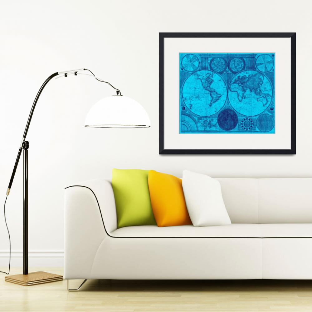 """""""World Map (1794) Light Blue & Blue""""  by Alleycatshirts"""