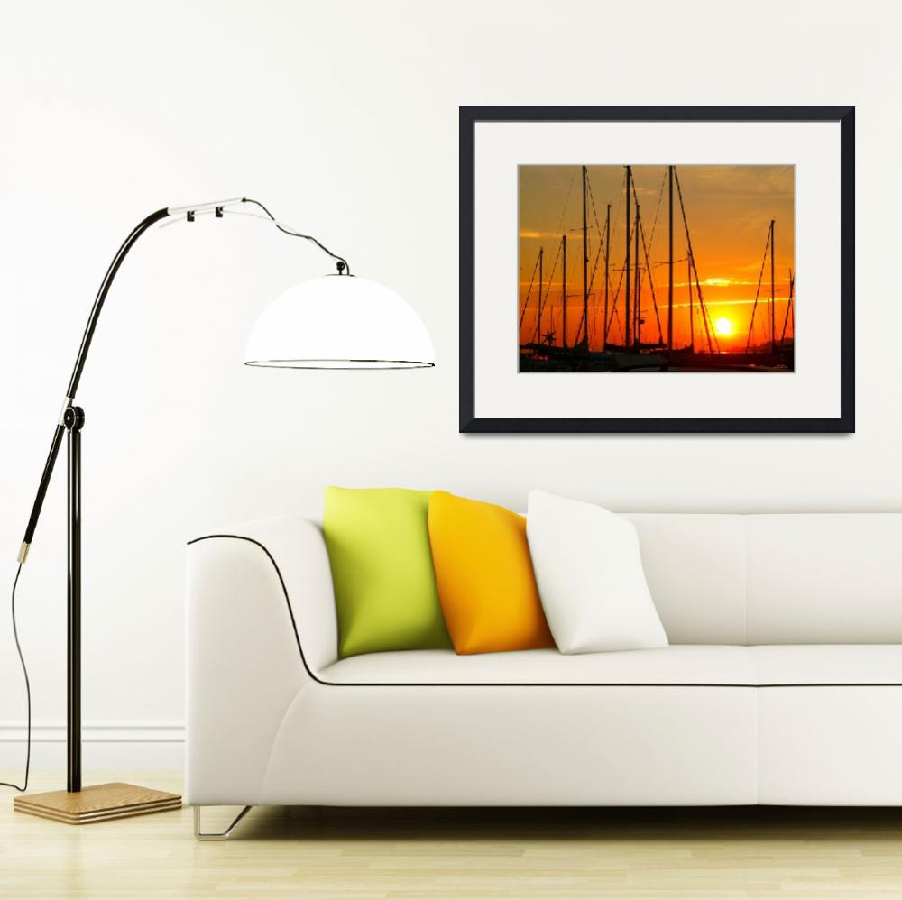 """""""Sunset over Saint-Tropez&quot  (2011) by Marianiart"""