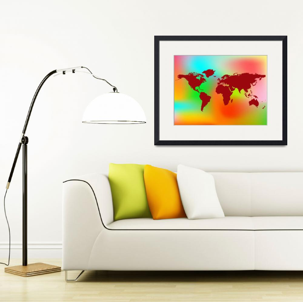 """""""world map and abstract background&quot  by robertosch"""