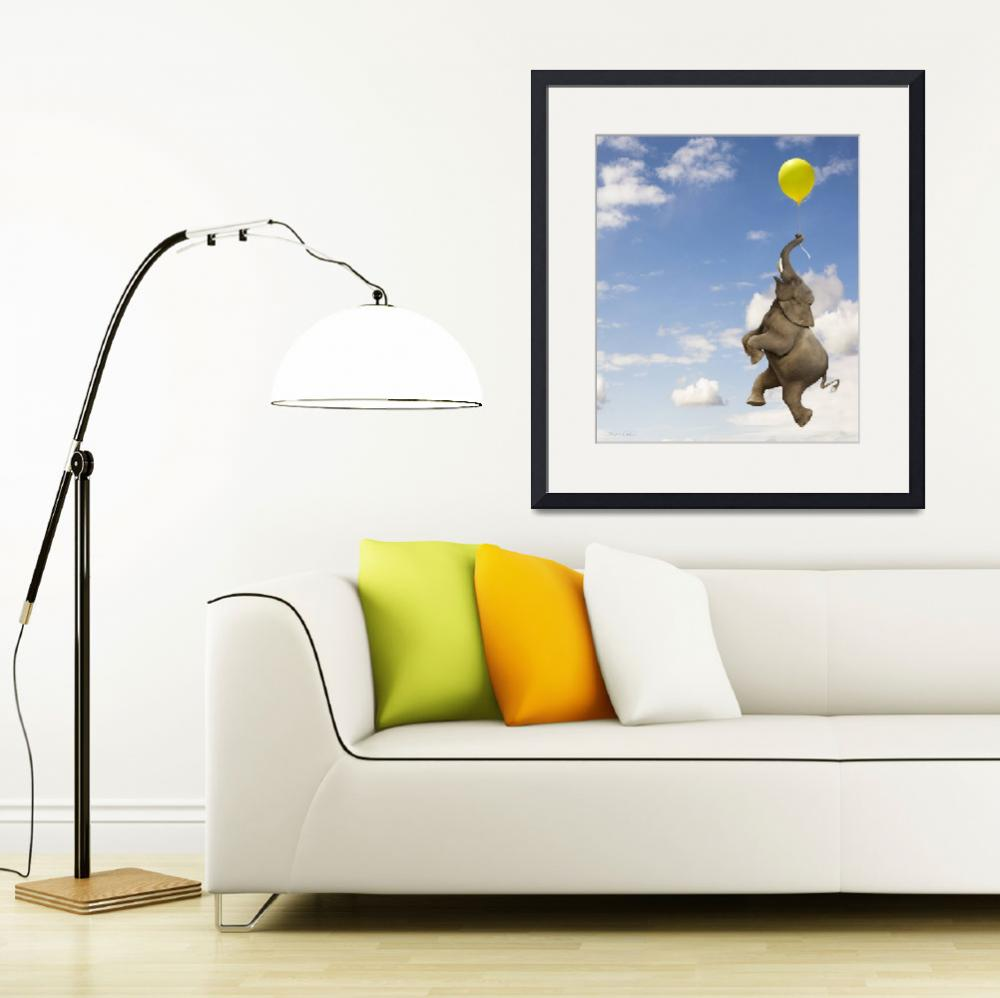 """""""Elephant grasping the balloon string floating up&quot  (2008) by StephanieDRoeser"""