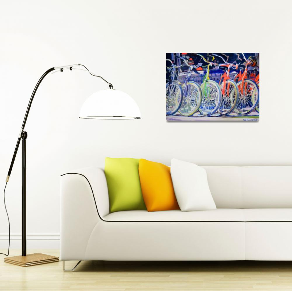 """""""Rainbow Bicycles in a Row""""  (2012) by RDRiccoboni"""