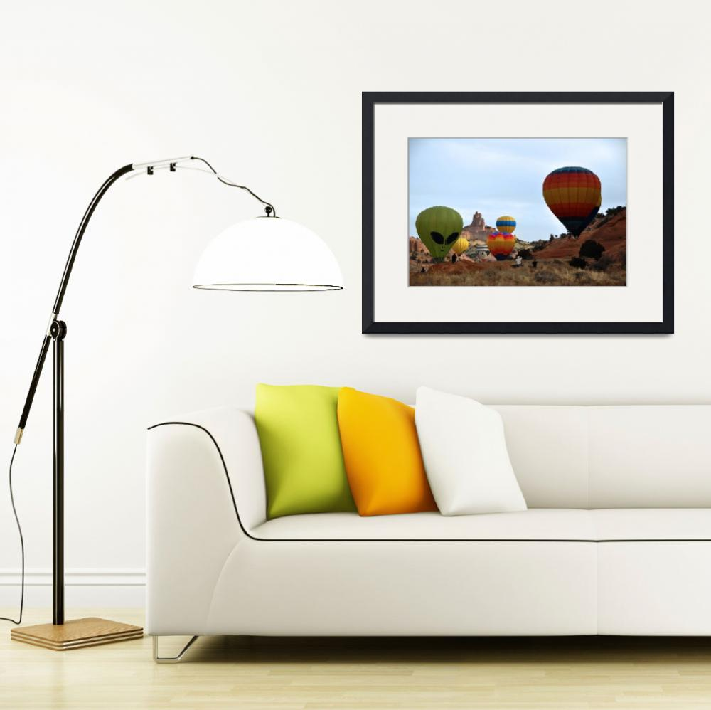"""""""Balloon Asension in Front of Church Rock&quot  (2010) by Wilford"""
