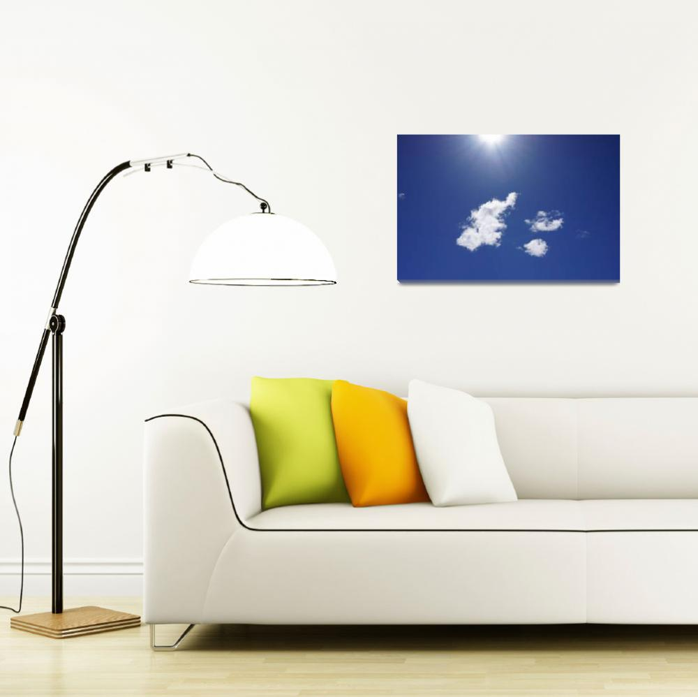 """Blue Sky Fluffy White Clouds Art Sun Rays""  (2014) by BasleeTroutman"