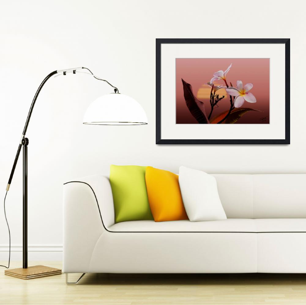 """""""Frangipani and Mantis Sunset&quot  (2011) by spadecaller"""