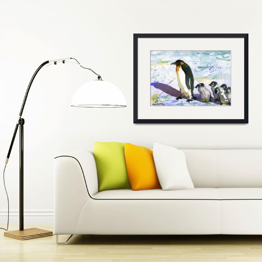 """Penguin Art, Watercolor Painting Art""  (2012) by schulmanart"