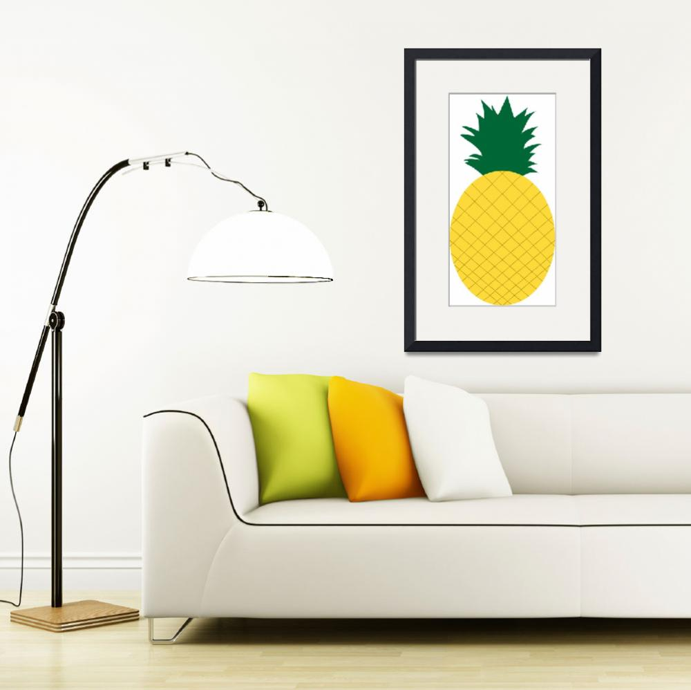 """Yellow Pineapple with Green Leaves&quot  (2017) by ValeriesGallery"