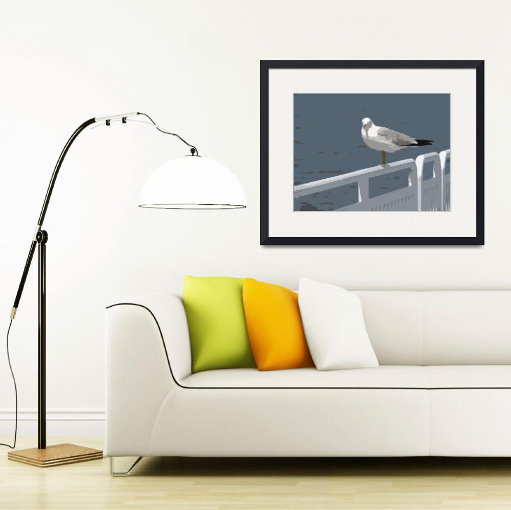 """Seagull on a Rail&quot  (2010) by Michelle1991"