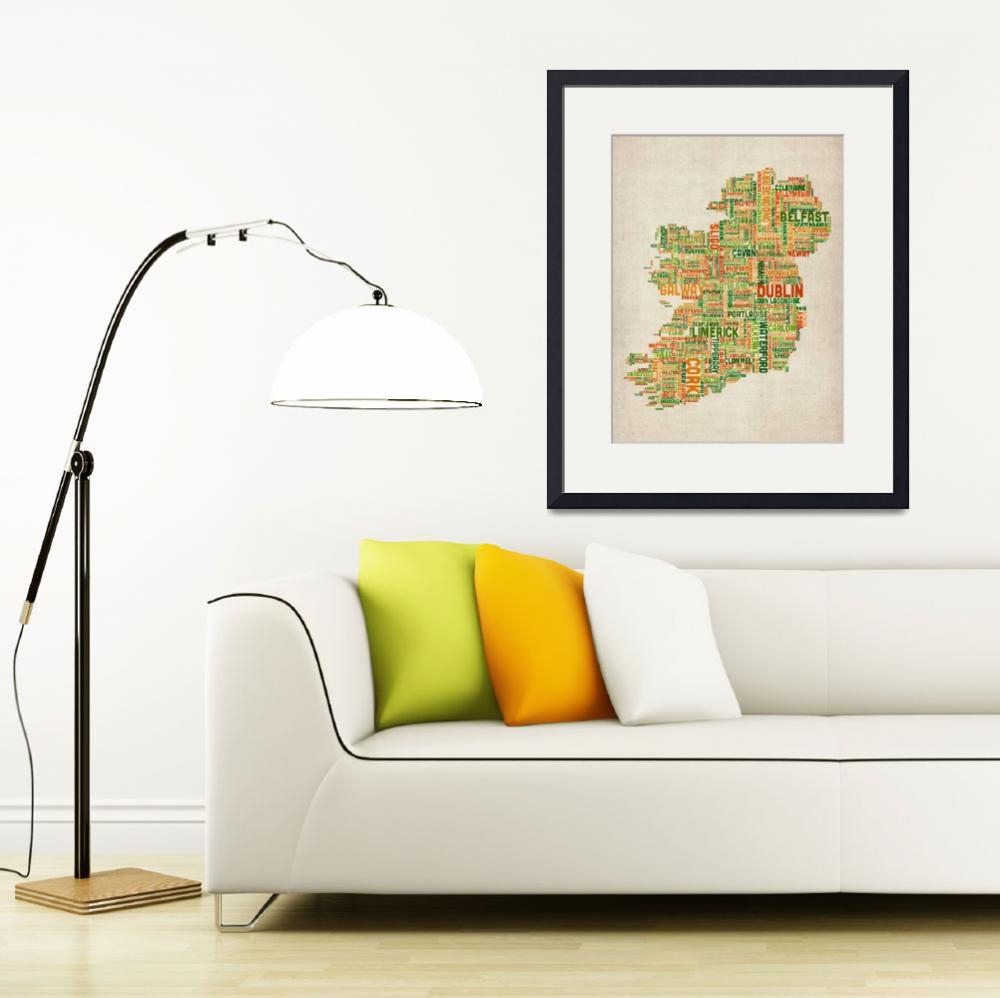 """Ireland Eire City Text Map&quot  (2012) by ModernArtPrints"