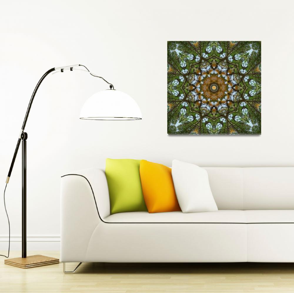 """Yellow Tree Flower Kaleidoscope Art 5&quot  (2010) by ChristopherInMexico"