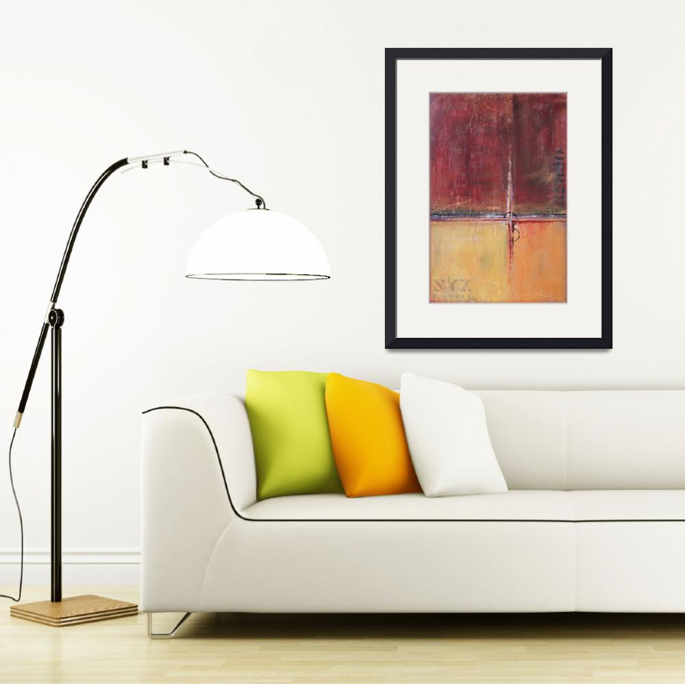 """""""Cargo - Red and Gold Art - Contemporary&quot  (2016) by LizMoran"""