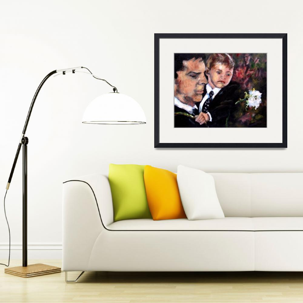 """""""White Roses for Haley Painting of Hotch and Jack&quot  (2011) by GinetteCallaway"""