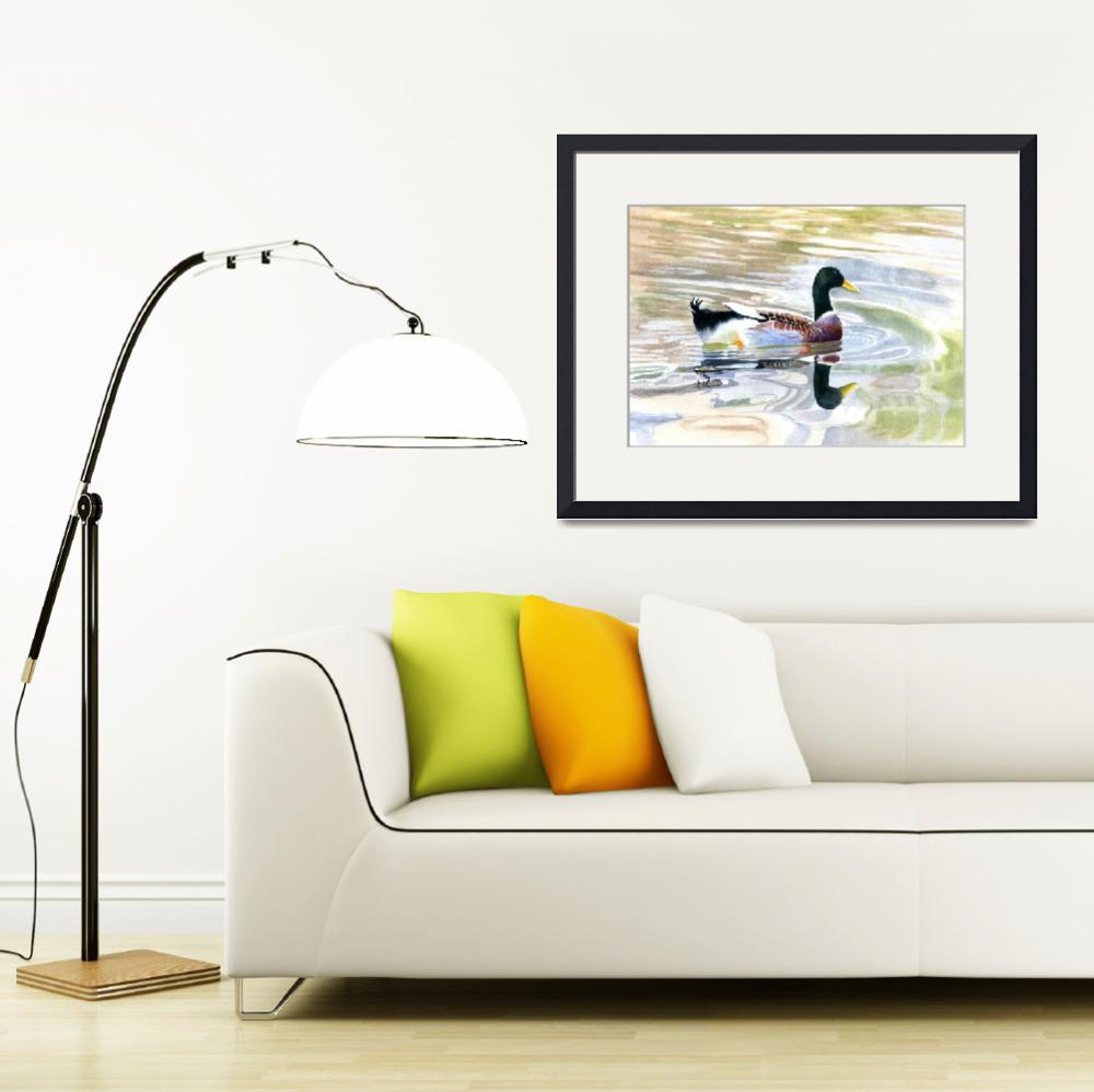 """""""Colorful Duck Reflections&quot  (2012) by Pacific-NW-Watercolors"""