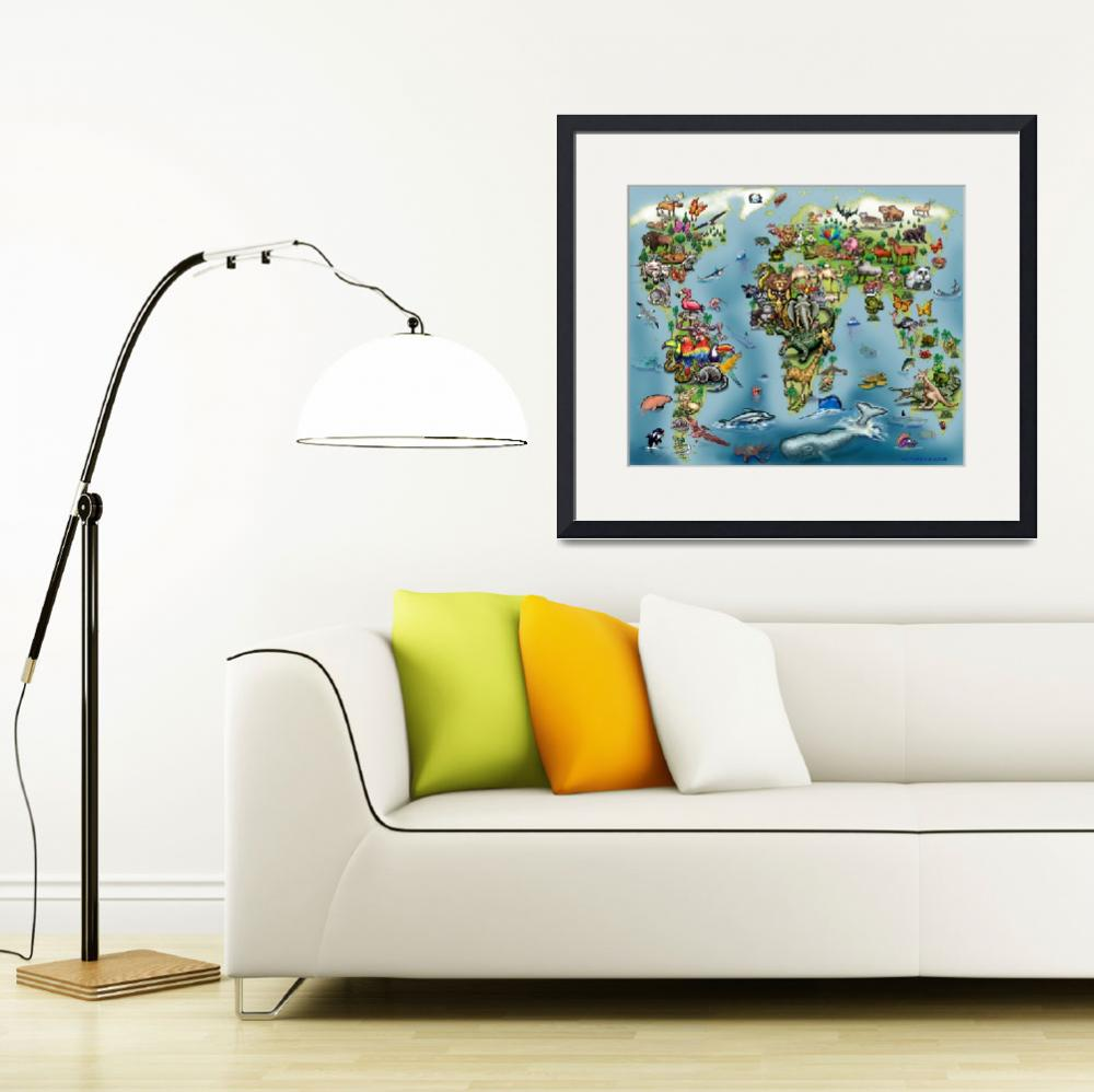 """""""Animals World Map Poster&quot  (2017) by FunGraphix"""