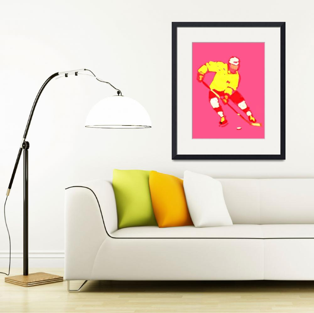 """""""Hockey Left Wing pink yellow red maroon (c)&quot  (2014) by edmarion"""