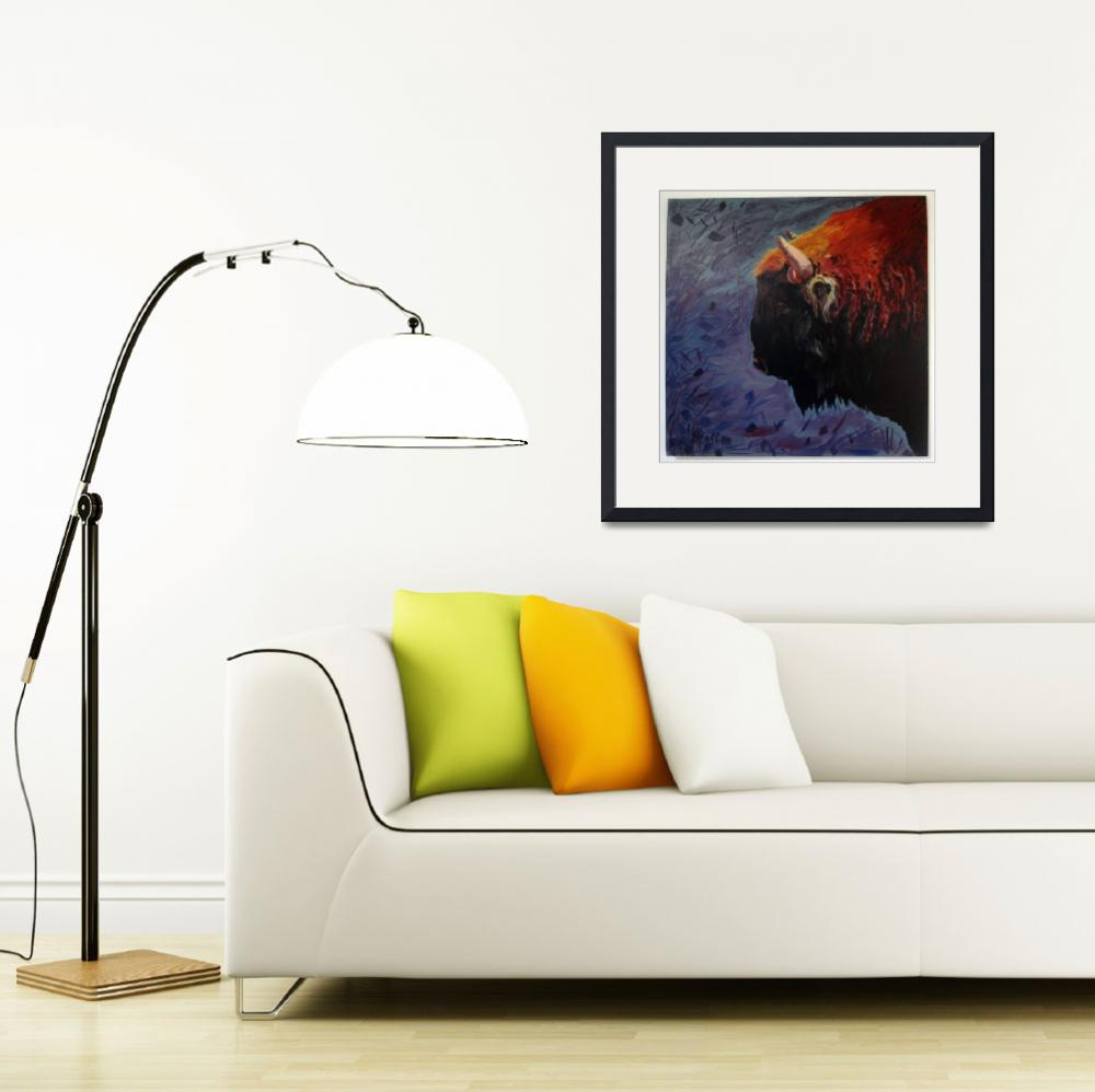 """""""Bison on mixed background&quot  (2015) by BrettHudsonArt"""