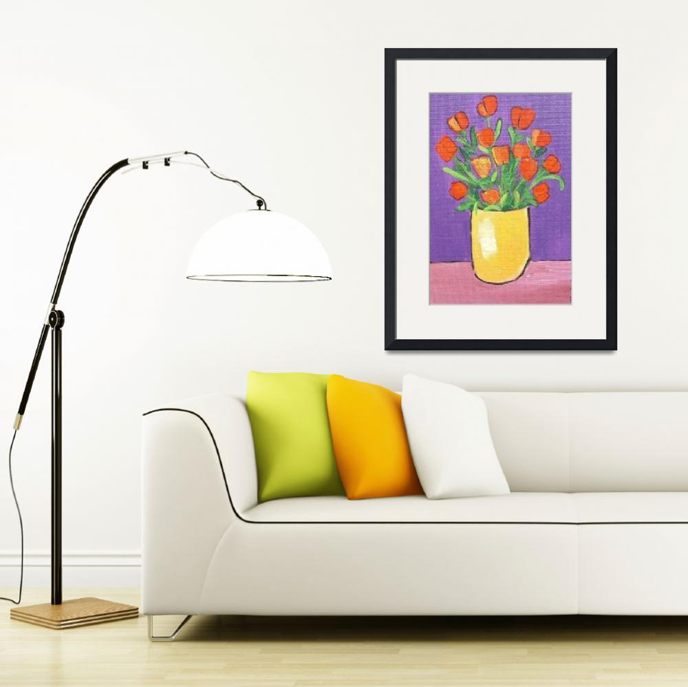 """""""Red Tulips in Yellow Vase&quot  by ChristineQuimbyArt"""